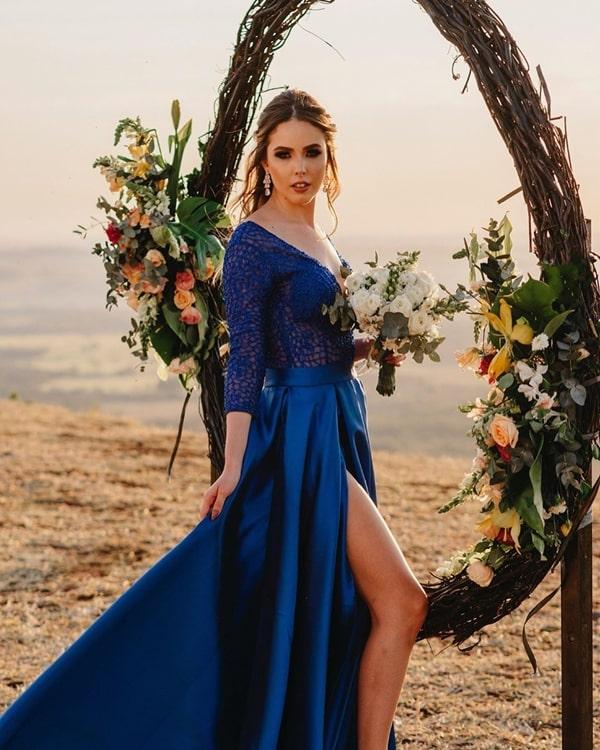 vestido azul royal para madrinha de casamento