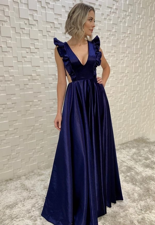 vestido azul royal longo de veludo