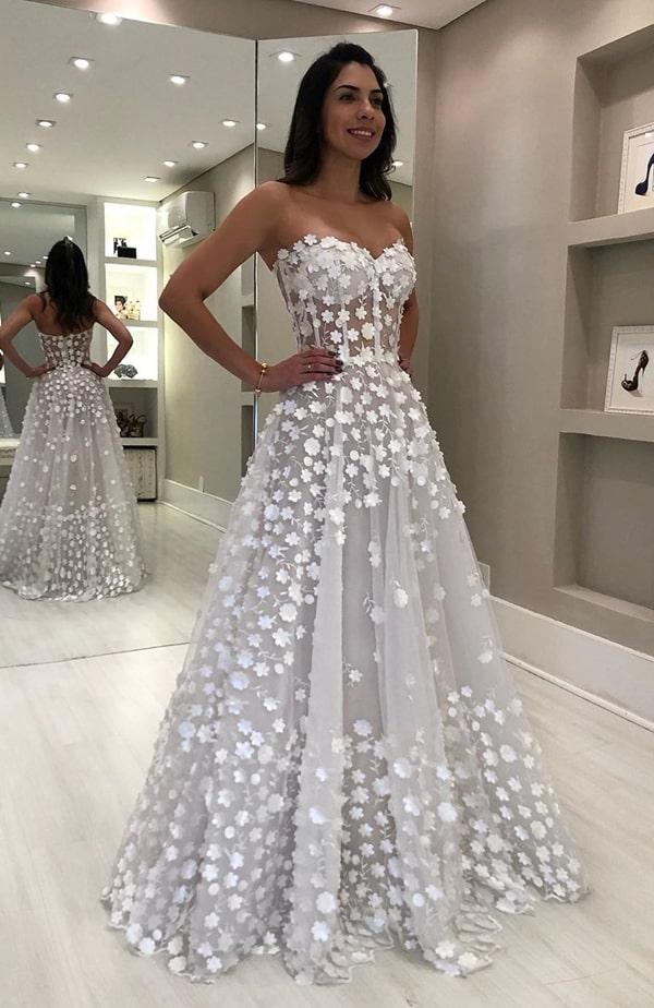 vestido de noiva com bordado 3D