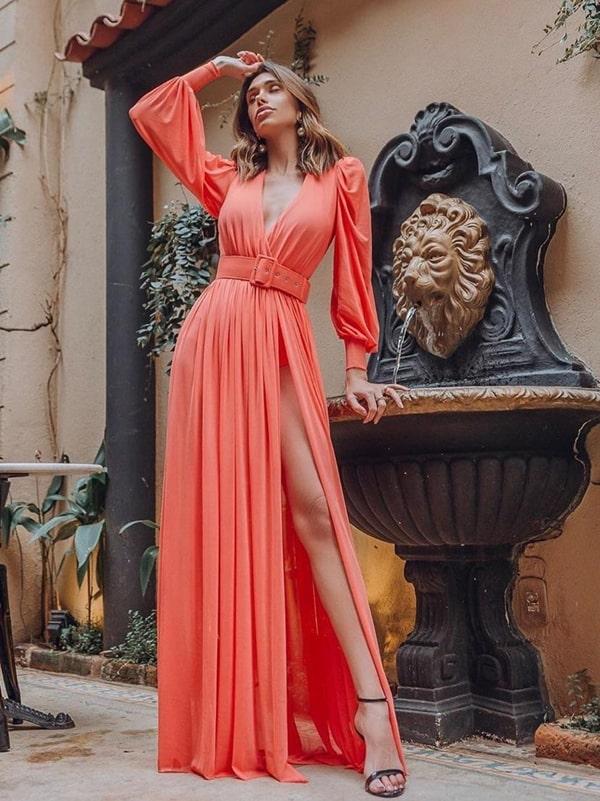 vestido de festa longo coral pêssego