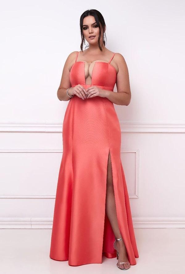 vestido longo coral plus size curve