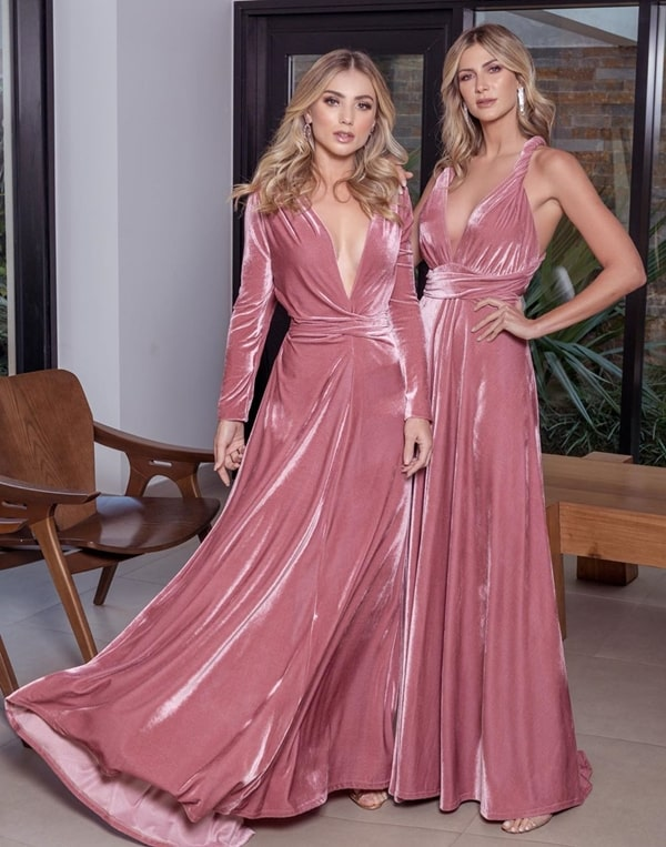 vestido longo de veludo rosa