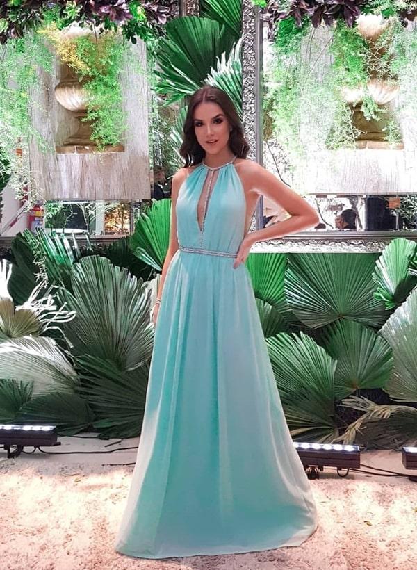vestido de festa longo tiffany fluido para madrinha de casamento