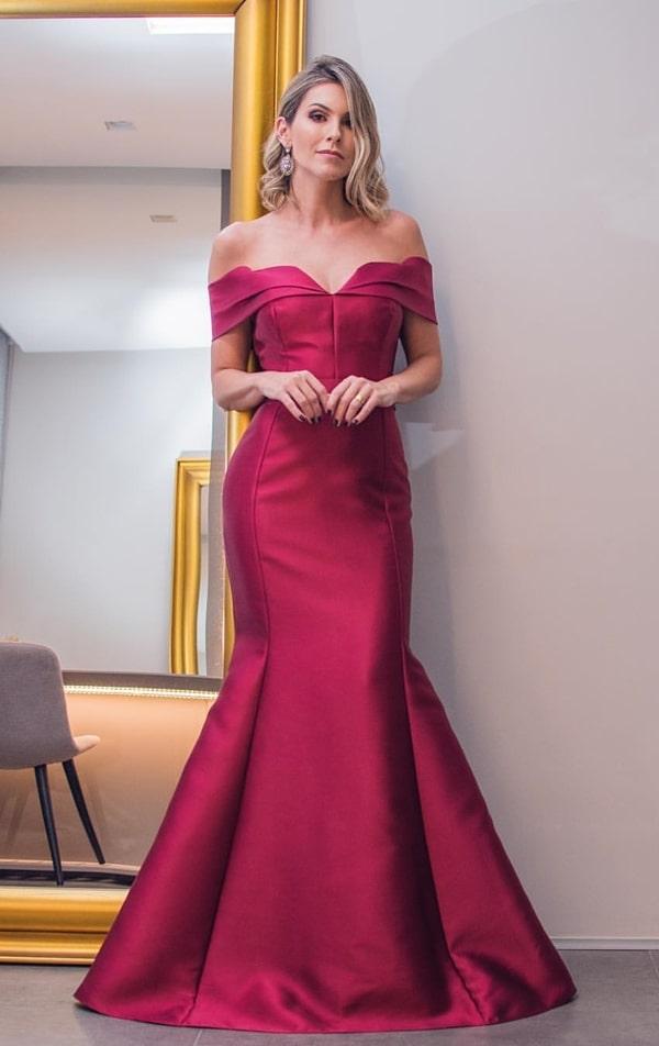 vestido de festa longo marsala modelo sereia