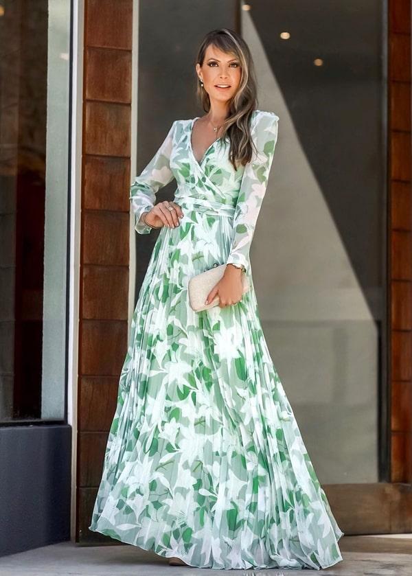 vestido de festa verde longo com estampa floral