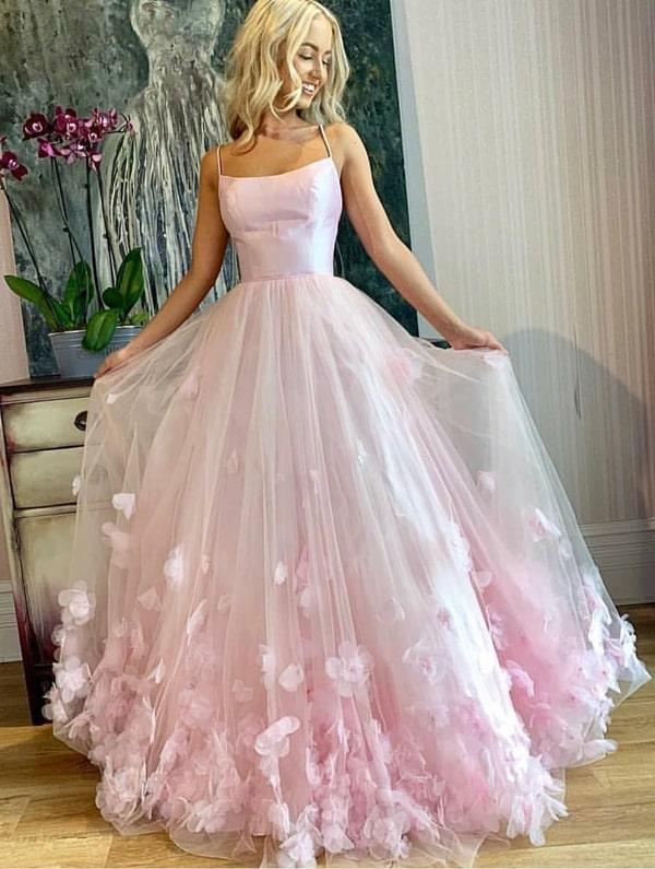 vestido de festa longo estilo princesa rose com bordado 3D