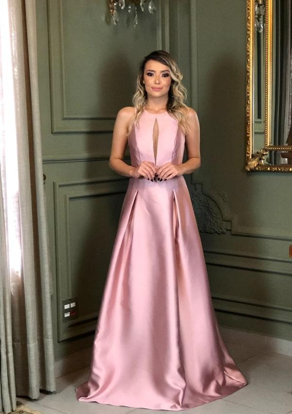 vestido longo rose modelo princesa para madrinha de casamento