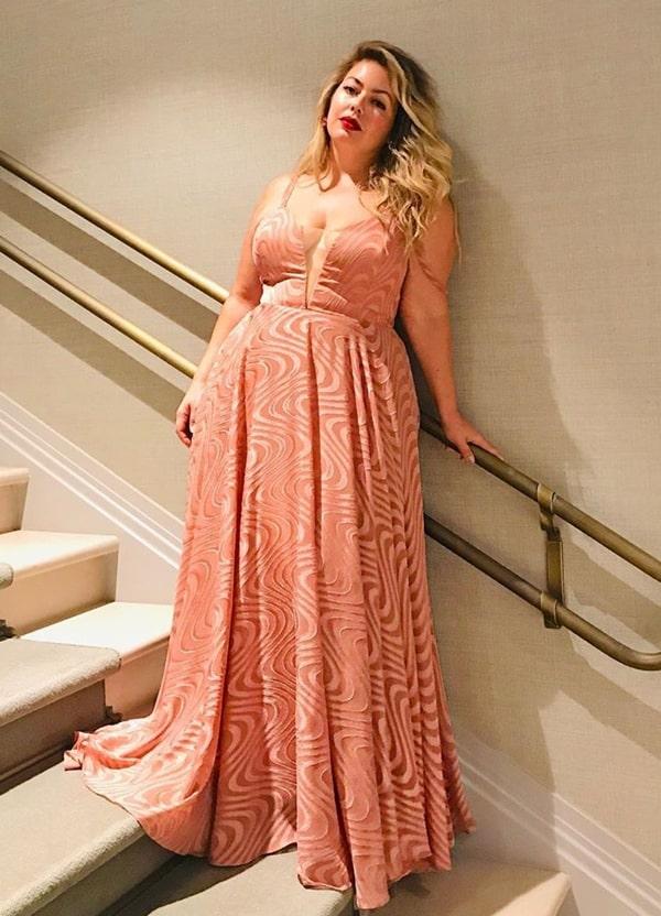 vestido longo rose plus size para madrinha de casamento