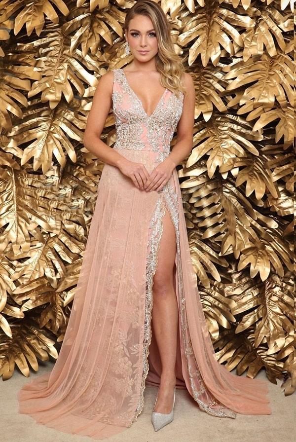 vestido de festa longo rose com fenda e bordado