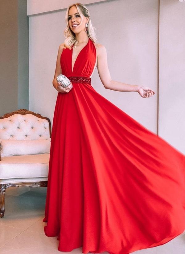 vestido longo vermelho fluido para madrinha de casamento