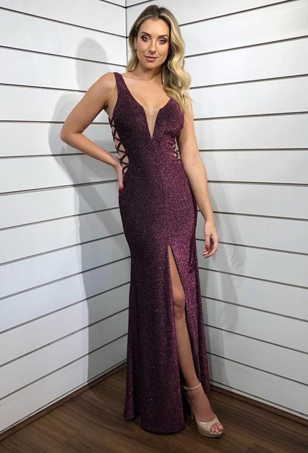 vestido vinho longo lurex