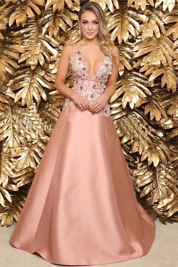 vestido de festa longo rose estilo princesa