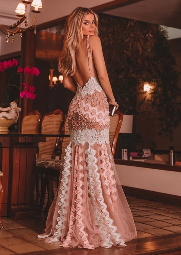 Os vestidos de festa da Thassia Naves: na foto vestido longo rose by Patricia Bonaldi