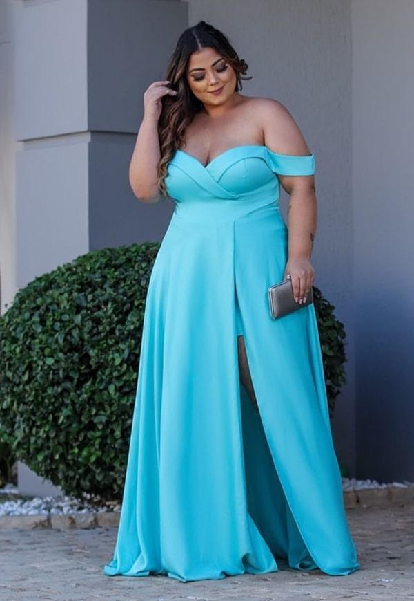 vestido longo plus size azul tiffany para madrinha de casamento