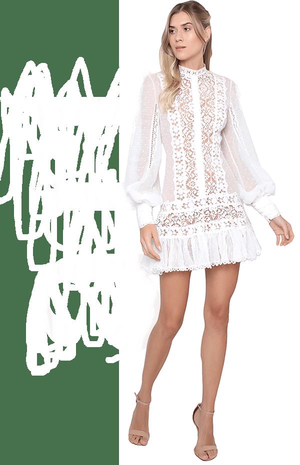 vestido branco curto de manga longa rendado