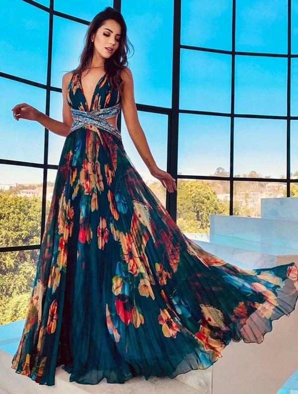 vestido de festa longo estampado para madrinha de casamento