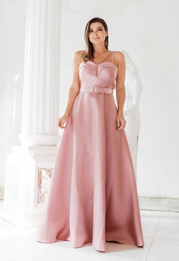 vestido longo rose estilo princesa com cinto