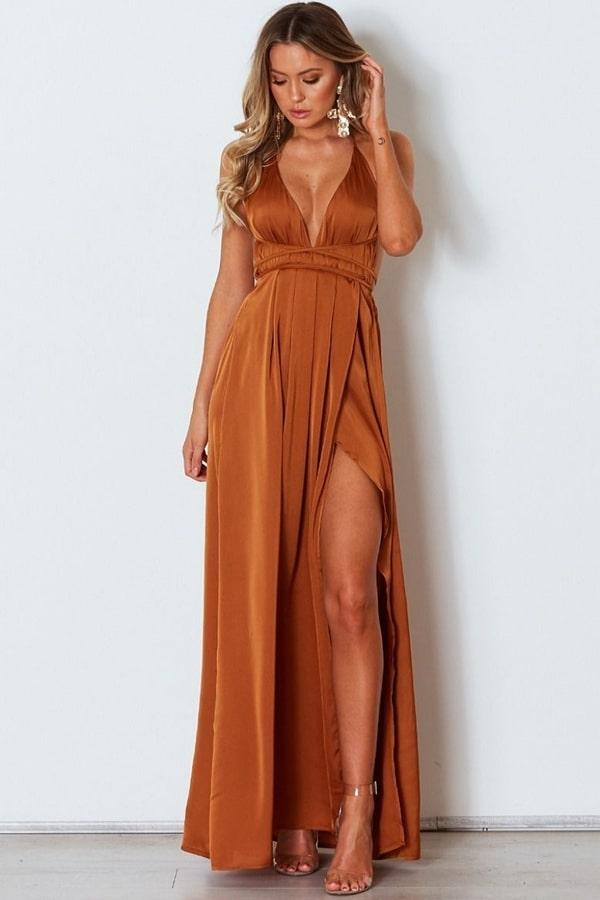 20 vestidos longos em tons terrosos para casamento