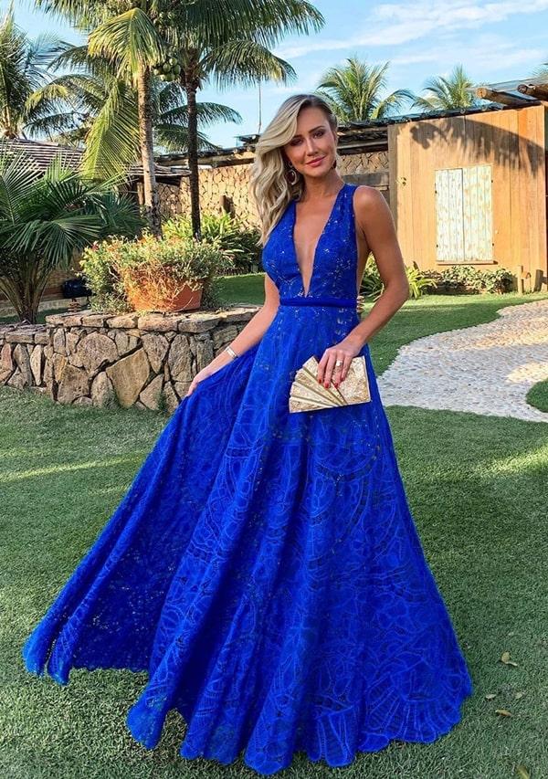 vestido longo azul bic rendado
