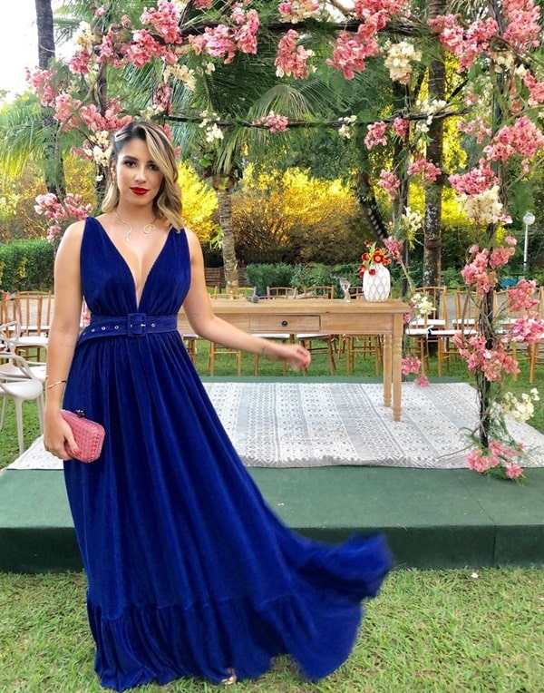 vestido longo azul royal de veludo