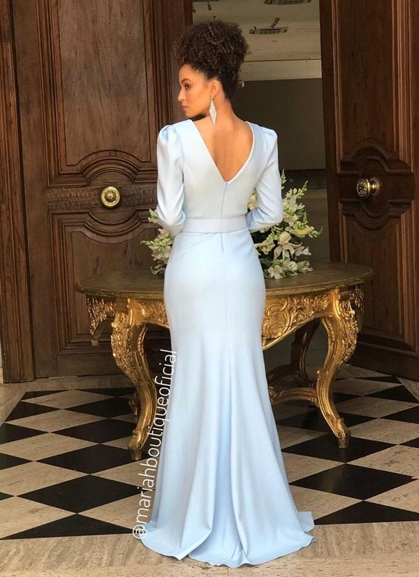 Vestidos azul serenity e azul claro para madrinhas de casamento