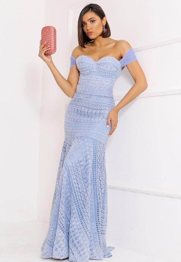 vestido longo azul serenity rendado