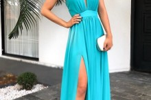 vestido azul tiffany fluido com fenda