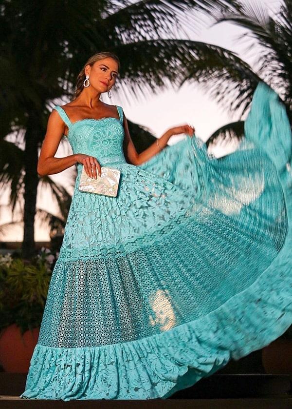 vestido longo azul tiffany rendado