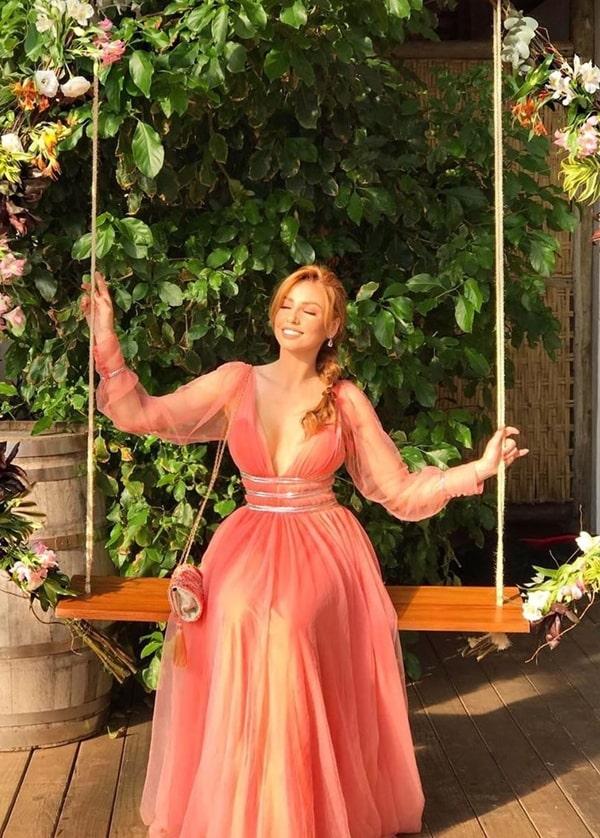 vestido longo coral de manga longa para madrinha de casamento