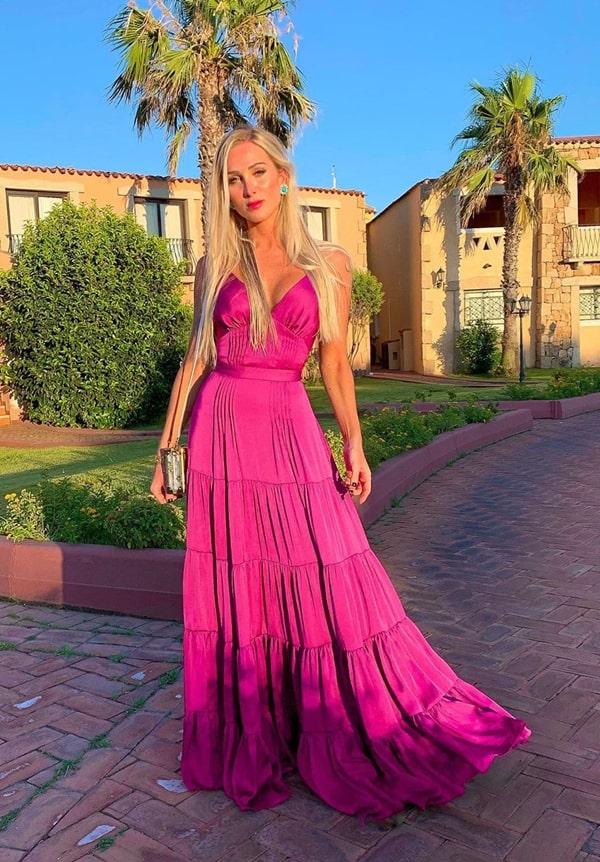 vestido longo fúcsia