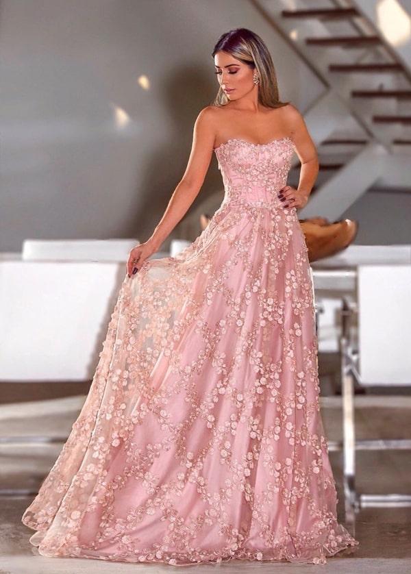 vestido longo rose bordado e decote tomara que caia