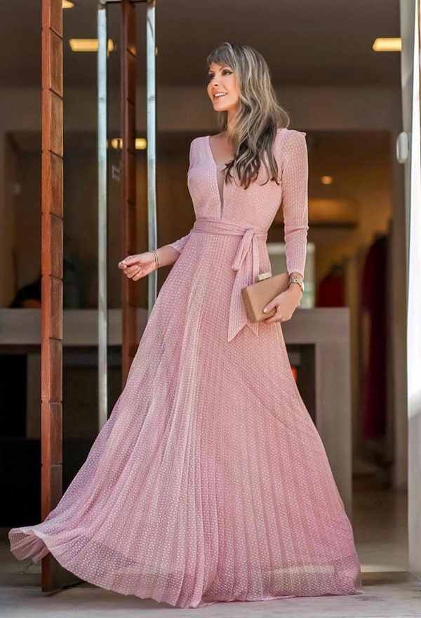 vestido longo rose de manga longa para casamento