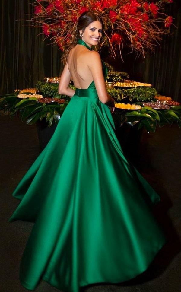 vestido de festa longo verde mullet para casamento