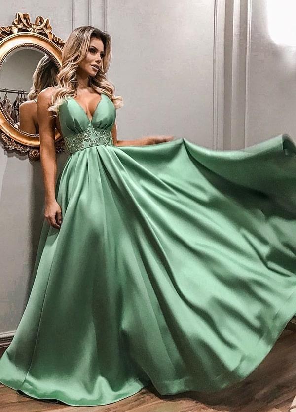 vestido verde menta estilo princesa para madrinha de casamento