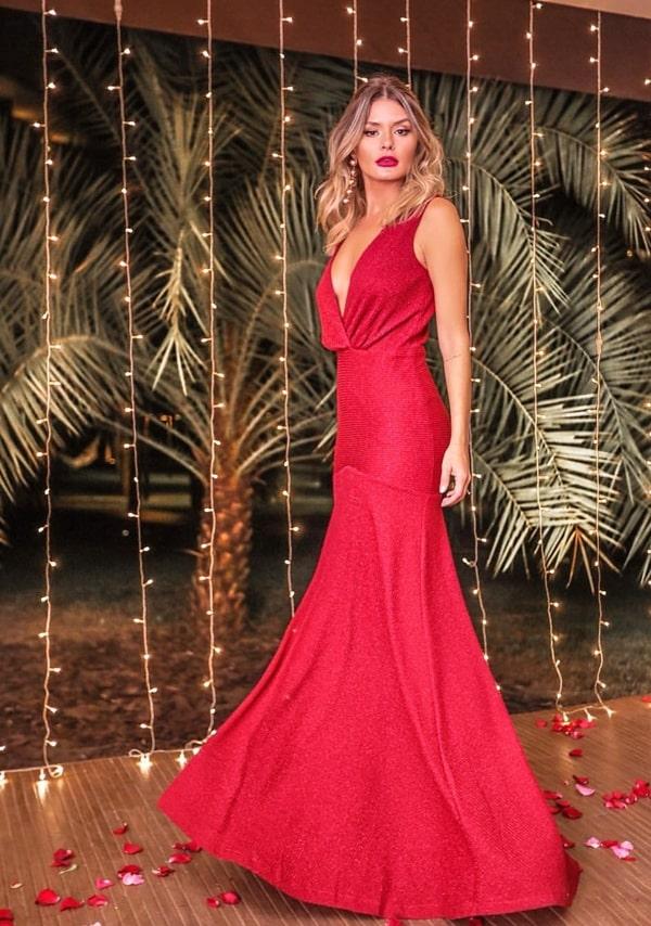 vestido longo vermelho fluido de lurex