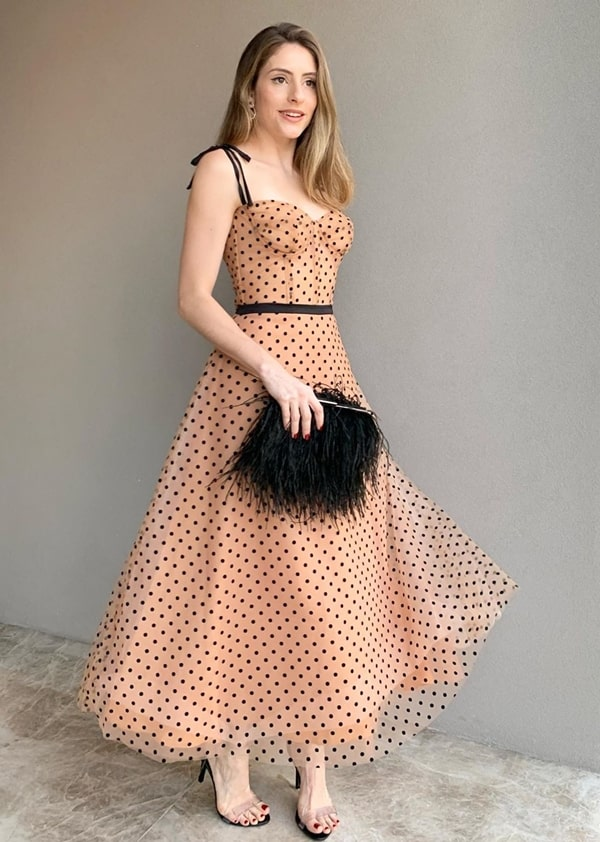 vestido midi de póas (bolinhas)