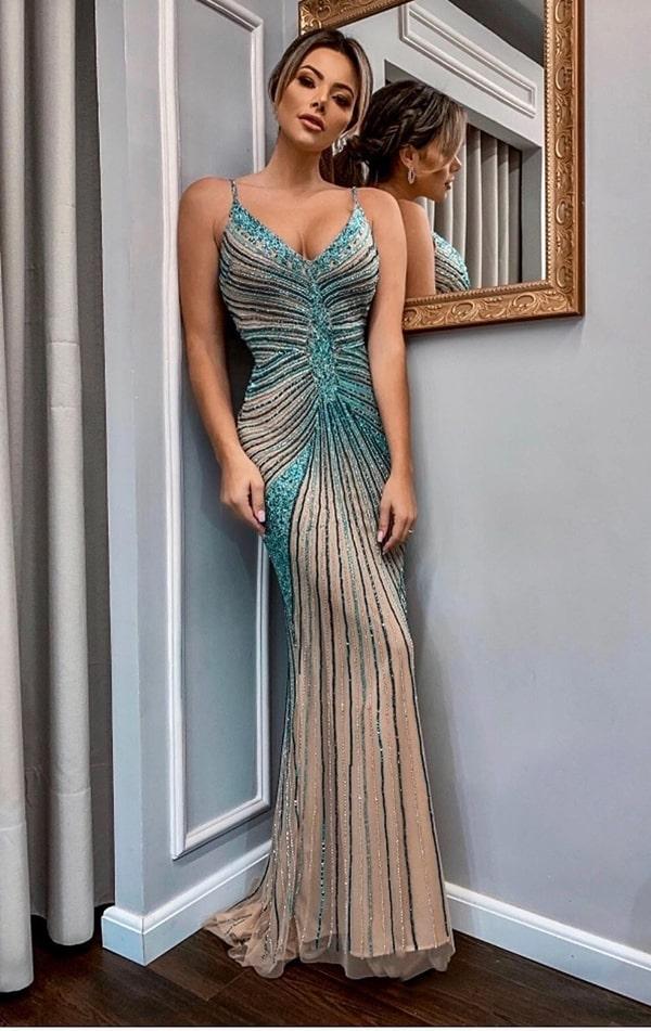 vestido de festa longo bordado para formanda