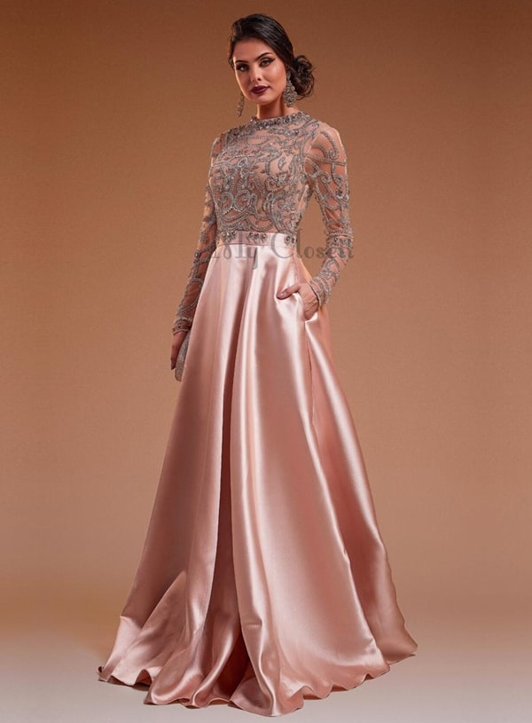 vestido estilo princesa rosa com manga longa bordada