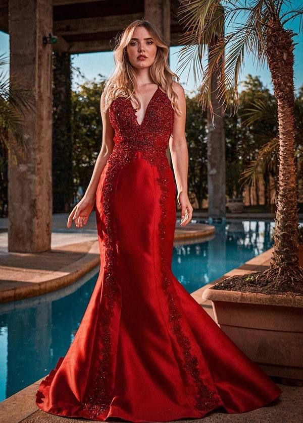 vestido vermelho para formanda 2020