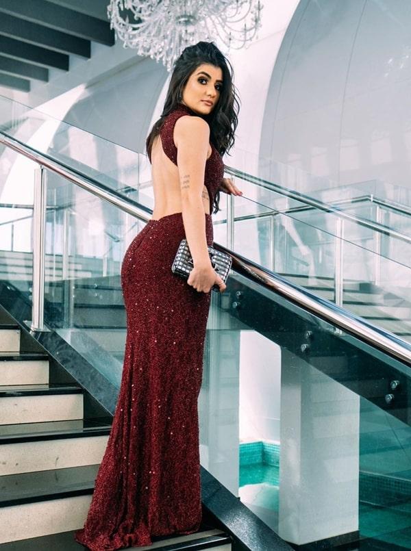 vestido de festa  vermelho marsala para formatura 2020