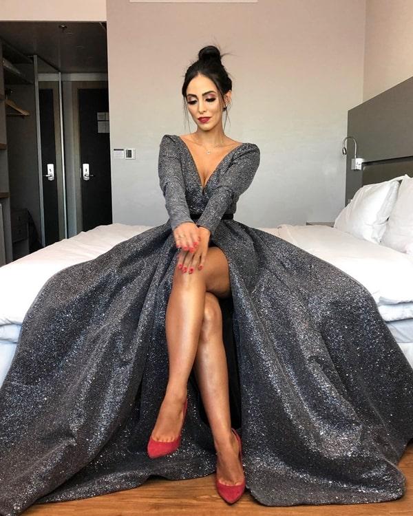 Jade Seba vestido de festa com fenda para o casamento de Thássia naves