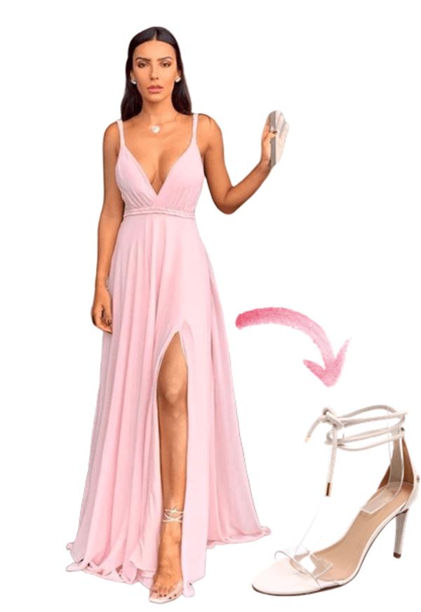 sandália de festa transparente de amarrar tira transparente