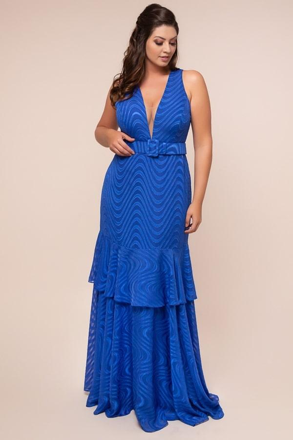 vestido de festa longo plus size azul bic