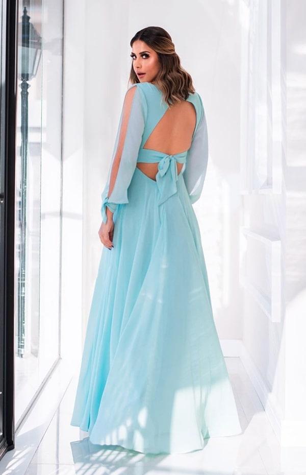 vestido longo azul tiffany com manga para madrinha de casamento