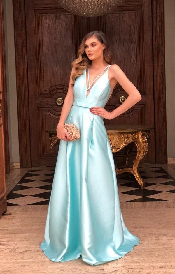 vestido de festa longo azul tiffany