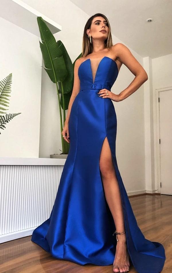 vestido de festa longo azul royal modelo sereia com fenda