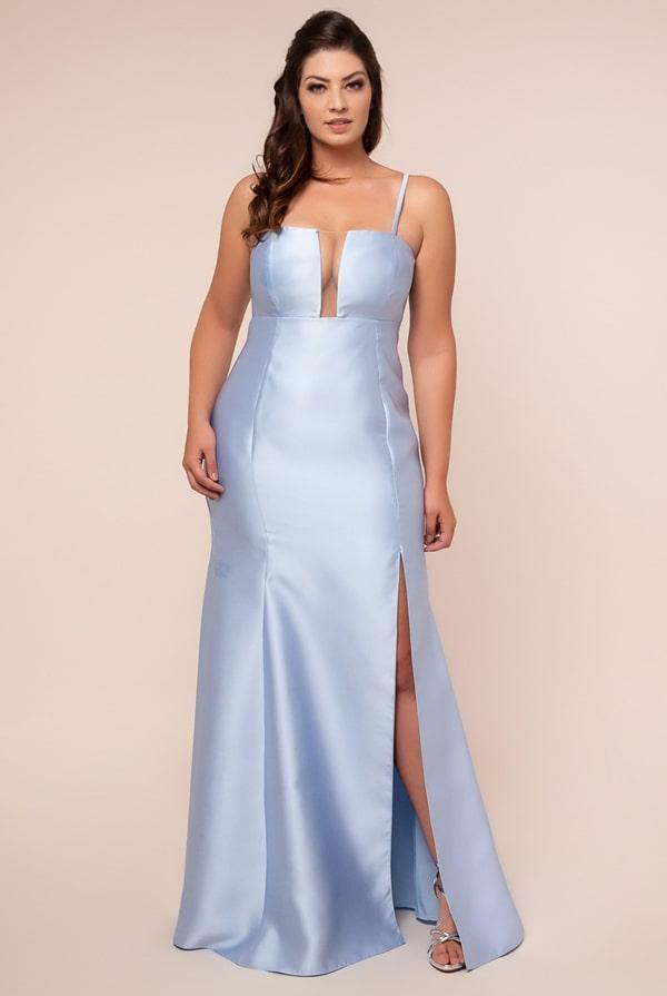 vestido de festa longo plus size azul serenity
