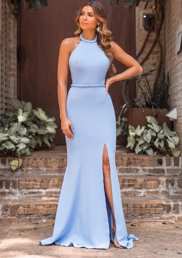 vestido de festa longo azul serenity justo