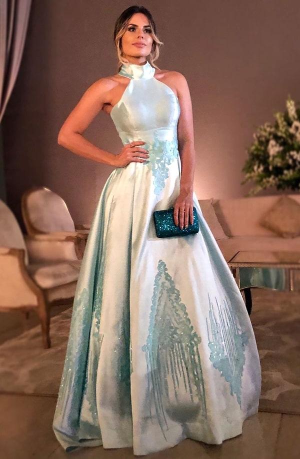 vestido de festa longo azul tiffany para madrinha de casamento