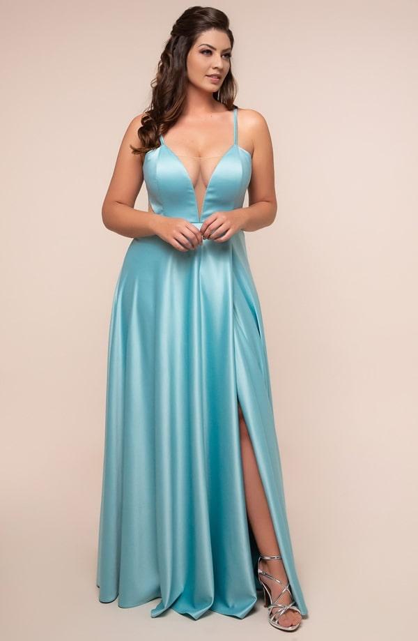 vestido de festa longo plus size azul tiffany